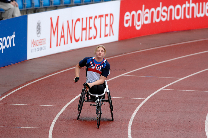 Photo: Richard Lane..VISA Paralympic World Cup 2007. Athletics. 13/05/2007. .Shelley Woods of Great Britain after the women's T54 400m.