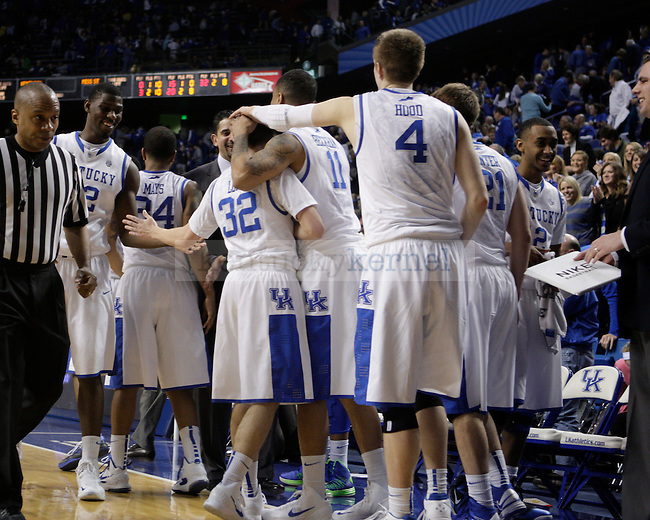 The team congratulates each other after the men's basketball game against Mississippi State at Rupp Arena in Lexington, Ky. on Saturday, February 27, 2013. Photo by Genevieve Adams