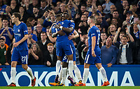 Antonio Rudiger of Chelsea celebrates his goal with Charly Musonda during the Carabao Cup round of 16 match between Chelsea and Everton at Stamford Bridge, London, England on 25 October 2017. Photo by Andy Rowland.