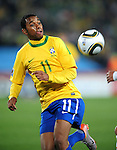 Robinho in action during the 2010 FIFA World Cup South Africa Round of Sixteen match between Brazil and Chile at Ellis Park Stadium on June 28, 2010 in Johannesburg, South Africa.