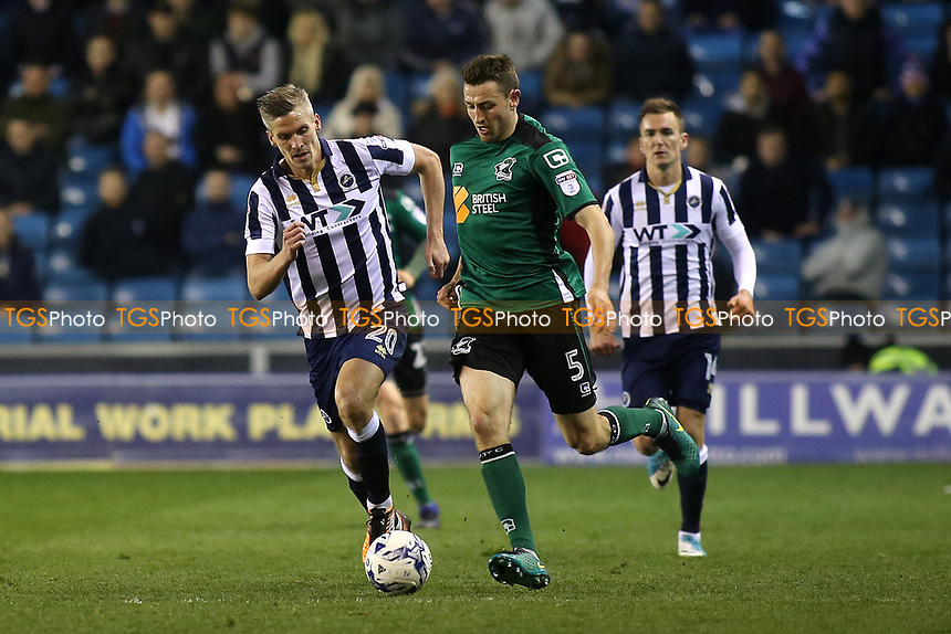 Murray Wallace of Scunthorpe tries to outpace Millwall's Steve Morison during Millwall vs Scunthorpe United, Sky Bet EFL League 1 Play-Off Football at The Den on 4th May 2017