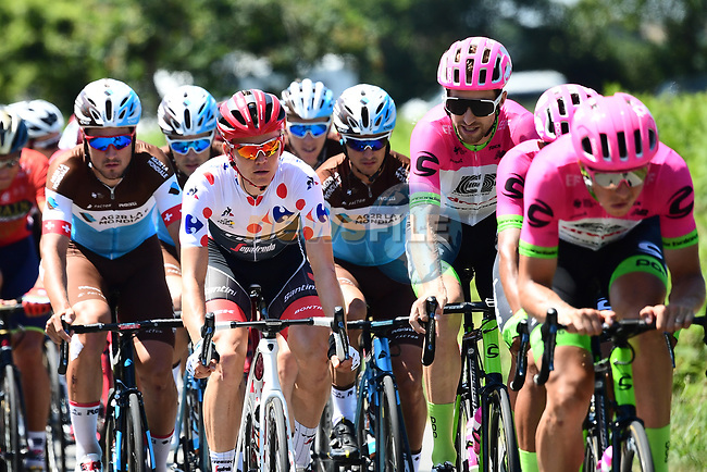 Polka Dot Jersey Toms Skujins (LAT) Trek-Segafredo in the peloton during Stage 6 of the 2018 Tour de France running 181km from Brest to Mur-de-Bretagne Guerledan, France. 12th July 2018. <br /> Picture: ASO/Alex Broadway | Cyclefile<br /> All photos usage must carry mandatory copyright credit (© Cyclefile | ASO/Alex Broadway)