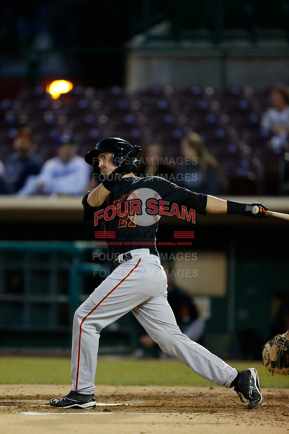 Jeff Arnold #21 of the San Jose Giants bats against the Inland Empire 66'ers on April 18, 2013 at San Manuel Stadium in San Bernardino, California. (Larry Goren/Four Seam Images)