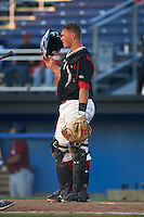 Batavia Muckdogs catcher Korey Dunbar (43) during a game against the Mahoning Valley Scrappers on June 24, 2015 at Dwyer Stadium in Batavia, New York.  Batavia defeated Mahoning Valley 1-0 as three Muckdogs pitchers combined to throw a perfect game.  (Mike Janes/Four Seam Images)