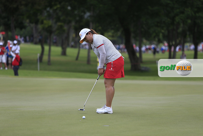 Inbee Park (KOR) on the 15th green during Round 3 of the HSBC Women's Champions at the Sentosa Golf Club, The Serapong Course in Singapore on Saturday 7th March 2015.<br /> Picture:  Thos Caffrey / www.golffile.ie