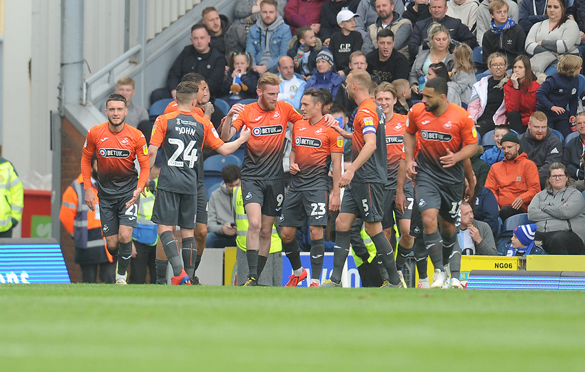 Swansea City's Oli McBurnie celebrates scoring his side's second goal with team-mates<br /> <br /> Photographer Kevin Barnes/CameraSport<br /> <br /> The EFL Sky Bet Championship - Blackburn Rovers v Swansea City - Sunday 5th May 2019 - Ewood Park - Blackburn<br /> <br /> World Copyright © 2019 CameraSport. All rights reserved. 43 Linden Ave. Countesthorpe. Leicester. England. LE8 5PG - Tel: +44 (0) 116 277 4147 - admin@camerasport.com - www.camerasport.com