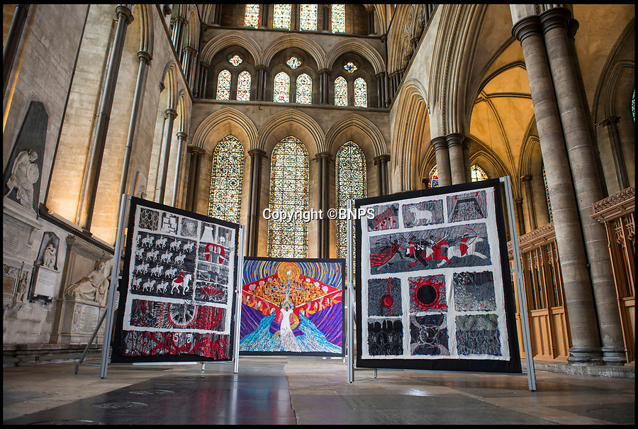 BNPS.co.uk (01202 558833)<br /> Pic: PhilYeomans/BNPS<br /> <br /> It's a Revelation -  New exhibition in Salisbury Cathedral features some stunning tapestries made by a determined artist from old bedsheets bought from a charity shop.<br /> <br /> Textile artist Jacqui Parkinson has taken three years and 12 million stitches to create the 14 huge embroideries that stretch to over 100ft when placed end to end. <br /> <br /> Jacqui, who only took up needlework a few years ago, embarked on the epic Bible artwork in 2013 and has now completed the fabric panels after three years and three months.<br /> <br /> Her work, Threads Through Revelation, is on display at Salisbury Cathedral, Wilts, from today (Wed) until November.