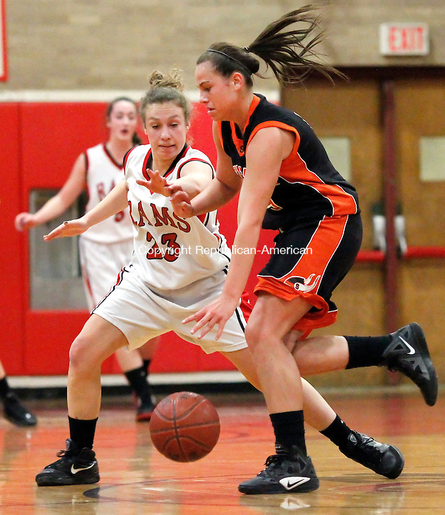 Cheshire, CT-19 January 2012-011912CM05- Cheshire's Lauren Como (23) guards Shelton's Alyssa Eannotti during their matchup in Cheshire Thursday night.   Christopher Massa Republican-American