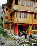 CHINA, Longsheng, people hang out in front of their home at the Dragon Backbone Rice Terraces