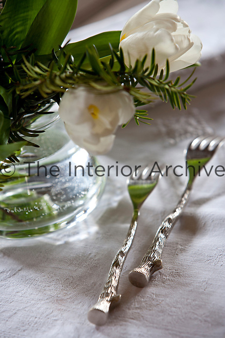 Detail of a pair of silver forks with handles designed to resemble wood
