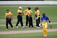 Wellington's Rachin Ravendra (centre) celebrates a wicket during the Wellington Firebirds v Otago Volts, Ford Trophy One Day match round five at Bert Sutcliffe Oval in Lincoln, New Zealand on Friday, 29 November 2019. Photo: Martin Hunter / lintottphoto.co.nz