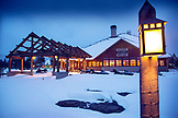 USA, Wyoming, Yellowstone National Park, night shot of the Snow Lodge at Old Faithful in the Winter, Upper Geyser Basin