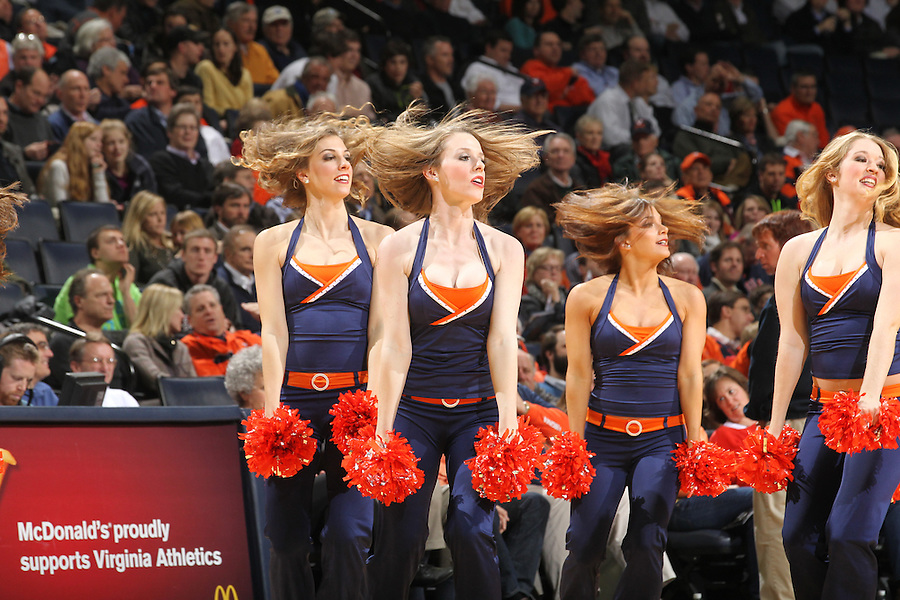 The Virginia dance team performs during the game against Wake Forest Wednesday Jan. 08, 2014 in Charlottesville, Va. Virginia defeated Wake Forest 74-51.