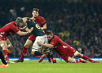Pictured: Marcelli Coetzee of South Africa (6) is brought down by L-R Dan Lydiate, Dan Biggar and Gethin Jenkins of Wales  Saturday 29 November 2014<br />