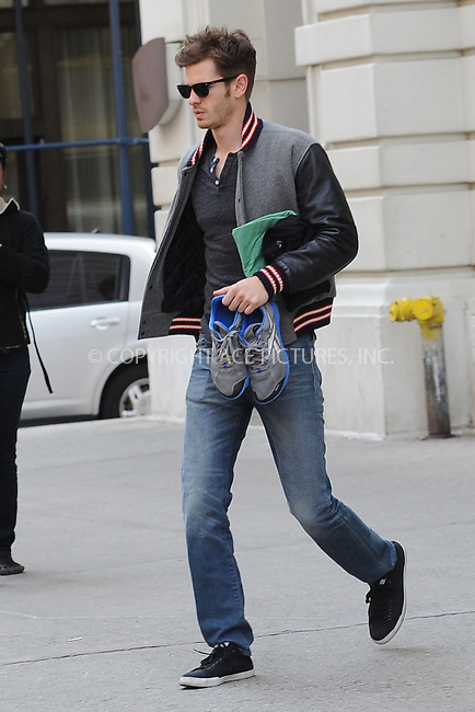 WWW.ACEPIXS.COM . . . . . .April 15, 2013...New York City....Andrew Garfield heads to the set of the Amazing Spider Man 2 on April 15, 2013 in New York City. ....Please byline: KRISTIN CALLAHAN - WWW.ACEPIXS.COM.. . . . . . ..Ace Pictures, Inc: ..tel: (212) 243 8787 or (646) 769 0430..e-mail: info@acepixs.com..web: http://www.acepixs.com .