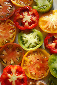 An array of heirloom tomatoes from the Durham Farmer's Market.
