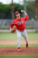 Philadelphia Phillies pitcher Ethan Lindow (19) delivers a pitch during an Instructional League game against the Atlanta Braves on October 9, 2017 at the Carpenter Complex in Clearwater, Florida.  (Mike Janes/Four Seam Images)