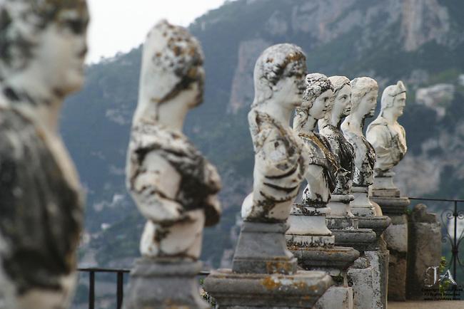 Many busts at Villa Ciambrone, Ravello, Amalfi Coast, Italy