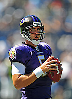 Sep. 20, 2009; San Diego, CA, USA; Baltimore Ravens quarterback Joe Flacco against the San Diego Chargers at Qualcomm Stadium in San Diego. Mandatory Credit: Mark J. Rebilas-