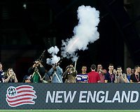 Foxborough, Massachusetts - June 2, 2018: In a Major League Soccer (MLS) match, New England Revolution (blue/white) defeated New York Red Bulls (white), 2-1, at Gillette Stadium.<br /> Victory celebration.
