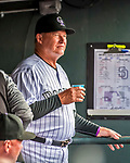 16 September 2017: Colorado Rockies hitting coach Duane Espy looks out from the dugout prior to a game against the San Diego Padres at Coors Field in Denver, Colorado. The Rockies shut out the Padres in a 16-0 route of the second game in their 3-game divisional series. Mandatory Credit: Ed Wolfstein Photo *** RAW (NEF) Image File Available ***