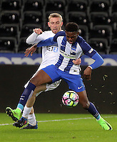Pictured: Oli McBurnie of Swansea (L) challenges a Hertha Berlin player Tuesday 28 February 2017<br /> Re: Premier League International Cup, Swansea City U23 v Hertha Berlin II at at the Liberty Stadium, Swansea, UK