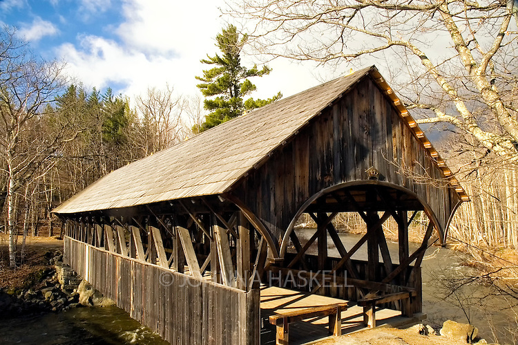 One of the few covered wooden bridges in Sunday River, Maine.