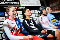 Picture by Alex Whitehead/SWpix.com - 01/03/2018 - Cycling - 2018 UCI Track Cycling World Championships, Day 2 - Omnisport, Apeldoorn, Netherlands - Katy Marchant of Great Britain prepares to compete in the Women's Sprint qualification.