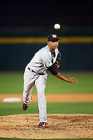 Norfolk Tides relief pitcher Richard Rodriguez (31) during a game against the Buffalo Bisons on July 18, 2016 at Coca-Cola Field in Buffalo, New York.  Norfolk defeated Buffalo 11-8.  (Mike Janes/Four Seam Images)