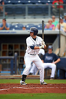Charlotte Stone Crabs second baseman Brandon Lowe (5) at bat during the first game of a doubleheader against the Tampa Yankees on July 18, 2017 at Charlotte Sports Park in Port Charlotte, Florida.  Charlotte defeated Tampa 7-0 in a game that was originally started on June 29th but called to inclement weather.  (Mike Janes/Four Seam Images)