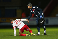 Matthew Godden of Stevenage leaves the field with an injury during Stevenage vs Notts County, Sky Bet EFL League 2 Football at the Lamex Stadium on 11th November 2017