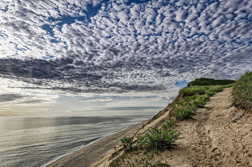 Scenic view from the dune cliffs overlooking Cape Cod National Seashore, Long Nook Beach, Truro, Cape Cod, Massachusetts, USA.