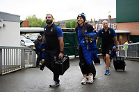 Jameson Mola, Sophie Bennett and the rest of the Bath Rugby team arrive at Welford Road. Gallagher Premiership match, between Leicester Tigers and Bath Rugby on May 18, 2019 at Welford Road in Leicester, England. Photo by: Patrick Khachfe / Onside Images