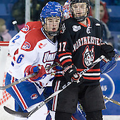 Riley Wetmore (Lowell - 16), Steve Silva (Northeastern - 17) - The visiting Northeastern University Huskies defeated the University of Massachusetts-Lowell River Hawks 3-2 with 14 seconds remaining in overtime on Friday, February 11, 2011, at Tsongas Arena in Lowelll, Massachusetts.
