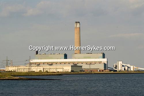 River Medway estuary Kingsnorth Power station Kent UK.