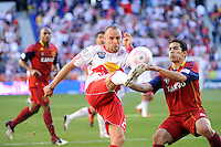 Joel Lindpere (20) of the New York Red Bulls plays the ball as Tony Beltran (2) of Real Salt Lake defends during a Major League Soccer (MLS) match at Red Bull Arena in Harrison, NJ, on October 09, 2010.