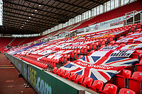 27th June 2020; Bet365 Stadium, Stoke, Staffordshire, England; English Championship Football, Stoke City versus Middlesbrough; Fans flags fill the stands