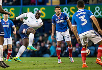 Adebayo Akinfenwa of Wycombe Wanderers shoots during the FA Cup 1st round match between Portsmouth and Wycombe Wanderers at Fratton Park, Portsmouth, England on the 5th November 2016. Photo by Liam McAvoy.