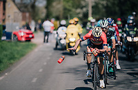 Vincenzo Nibali (ITA/Bahrain-Merida) swithching/ditching his last bidon in the last local lap<br /> <br /> 82nd Fl&egrave;che Wallonne 2018 (1.UWT)<br /> 1 Day Race: Seraing - Huy (198km)