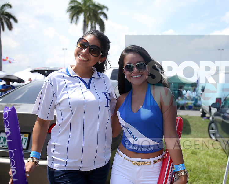 Two Honduran fans outside the stadium<br /> <br /> England vs Honduras  - International Friendly - Sun Life Stadium - Miami - USA - 07/06/2014  - Pic David Klein/Sportimage
