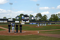 General view of the national anthem before a Biloxi Shuckers game against the Birmingham Barons on May 24, 2015 at Joe Davis Stadium in Huntsville, Alabama.  Birmingham defeated Biloxi 6-4 as the Shuckers are playing all games on the road, or neutral sites like their former home in Huntsville, until the teams new stadium is completed in early June.  (Mike Janes/Four Seam Images)