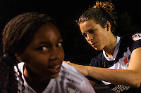 Sky Blue FC forward Kelley O'Hara (19) signs a fans jersey after the match. Sky Blue FC and FC Kansas City played to a 2-2 tie during a National Women's Soccer League (NWSL) match at Yurcak Field in Piscataway, NJ, on June 26, 2013.