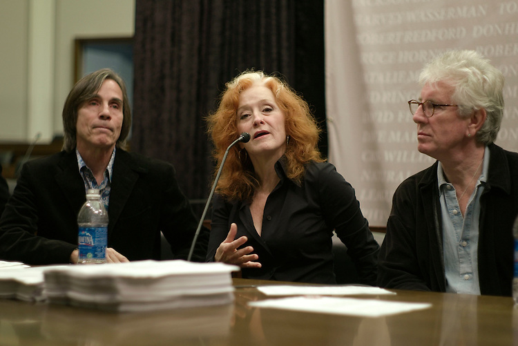 WASHINGTON, DC - Oct. 23: Rock stars Jackson Browne, Bonnie Raitt, and Graham Nash during a news conference calling on Congress to wipe language from the Senate-passed energy bill (HR 3221) that would authorize $50 billion in loan guarantees to finance new nuclear reactors. A petition circulated by No Nukes counts 120,000 signatures, ranging from the rock band R.E.M. to the Sierra Club, of supporters of efforts to prevent the government from underwriting the building of new nuclear plants. The rock stars are urging Congress to back parts of the energy bill that advance safer alternatives, including solar and wind power generation. (Photo by Scott J. Ferrell/Congressional Quarterly).