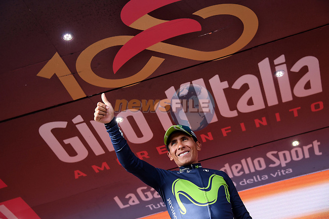 Nairo Quintana (COL) Movistar Team wins Stage 9 of the 100th edition of the Giro d'Italia 2017, running 149km from Montenero di Bisaccia to Blockhaus, Italy. 14th May 2017.<br /> Picture: LaPresse/Gian Mattia D'Alberto | Cyclefile<br /> <br /> <br /> All photos usage must carry mandatory copyright credit (&copy; Cyclefile | LaPresse/Gian Mattia D'Alberto)
