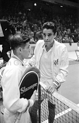 American tennis player Pancho Gonzales (R) vs Australian Ken Rosewall, Madison Square Garden, 1957. Photograph by John G. Zimmerman.