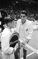American tennis player Pancho Gonzales (R) vs Australian Ken Rosewall, Madison Square Garden, 1957. Photograph by John G. Zimmerman.