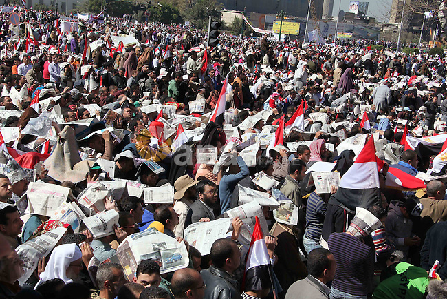 Thousands gather in Tahrir Square in Cairo, Egypt, Friday Feb. 18, 2011. Tens of thousands of flag-waving Egyptians packed into Tahrir Square for a day of prayer and celebration Friday to mark the fall of Hosni Mubarak a week ago and to maintain pressure on the new military rulers to steer the country toward democratic reforms. Photo by Karam Nasser