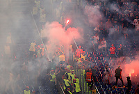 Calcio, Champions League, Gruppo E: Roma vs CSKA Mosca. Roma, stadio Olimpico, 17 settembre 2014.<br /> CSKA Moskva and Roma fans throw flares during the Group E Champions League football match between AS Roma and CSKA Moskva at Rome's Olympic stadium, 17 September 2014.<br /> UPDATE IMAGES PRESS/Riccardo De Luca