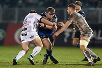 Jacques van Rooyen of Bath Rugby takes on the Gloucester Rugby defence. Premiership Rugby Cup match, between Bath Rugby and Gloucester Rugby on February 3, 2019 at the Recreation Ground in Bath, England. Photo by: Patrick Khachfe / Onside Images