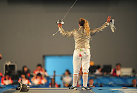 Aug. 9, 2008; Beijing, CHINA; Mariel Zagunis celebrates after defeating Sada Jacobson to win the gold medal in the womens fencing individual final at the Fencing Hall in the 2008 Beijing Olympic Games. Mandatory Credit: Mark J. Rebilas-